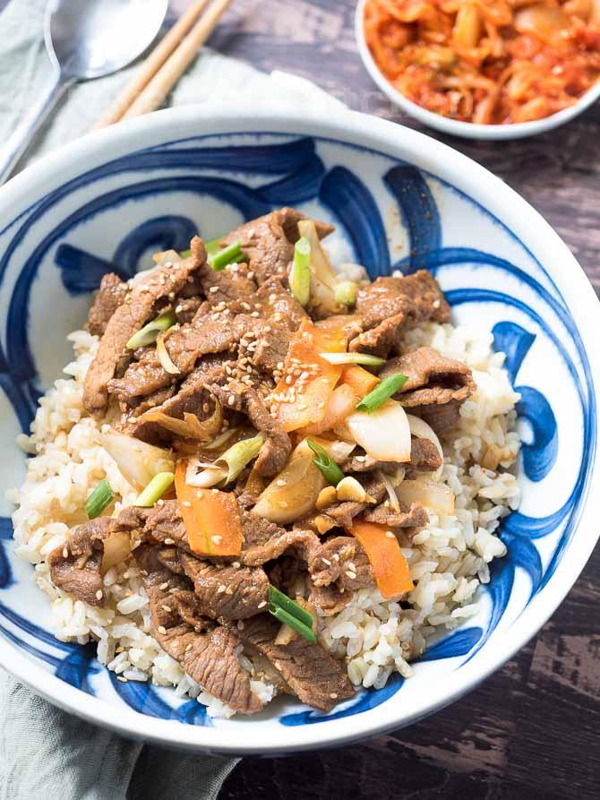Beef Bulgogi Rice In A Bowl