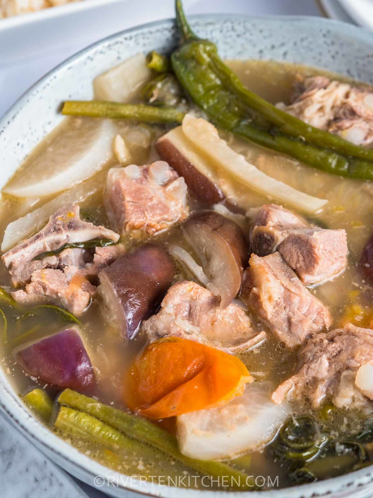 Pork Ribs  and Vegetables Soup in Sour Broth