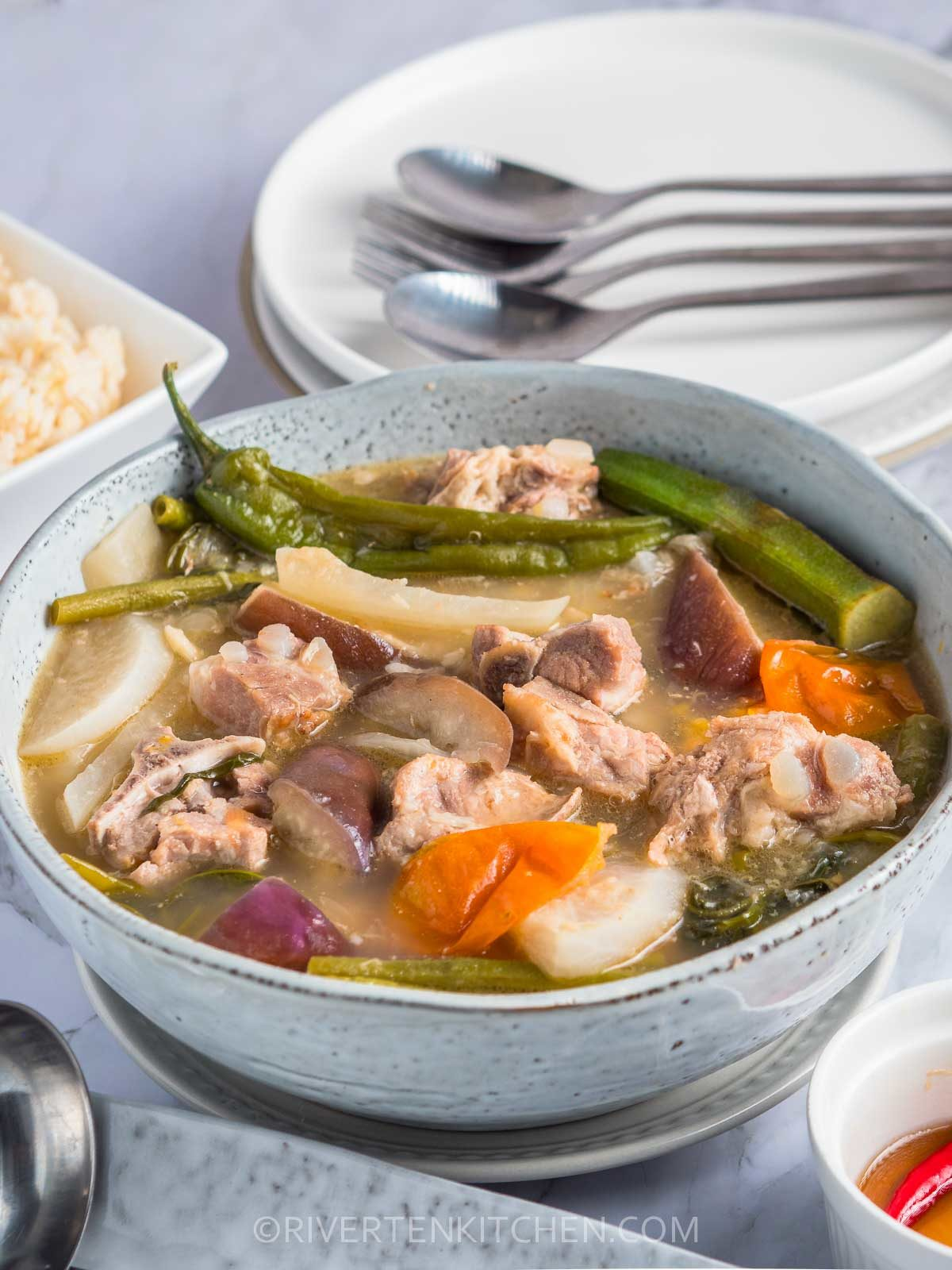 Bowl of Filipino Sour Pork Soup