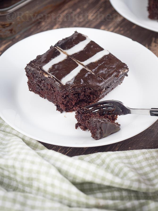 Easy Moist Chocolate Cake Slice