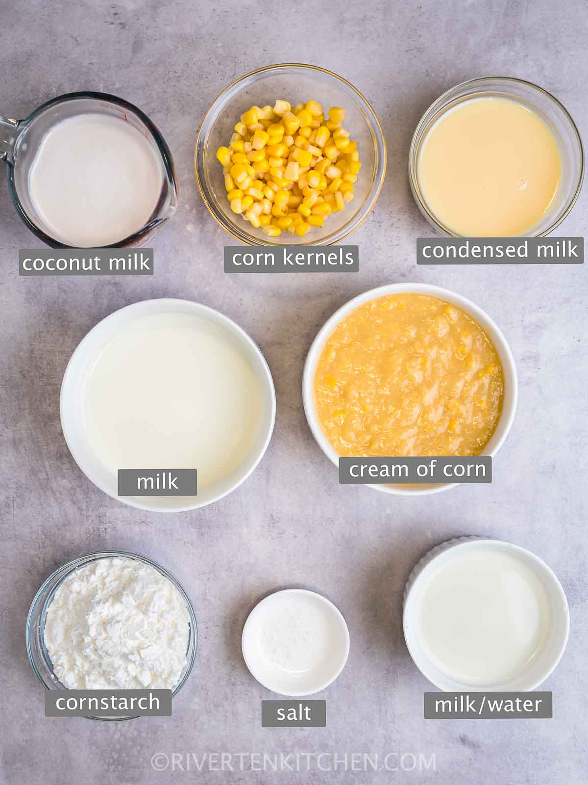 Corn, coconut milk, evaporated milk, fresh milk, condensed milk, cornstarch