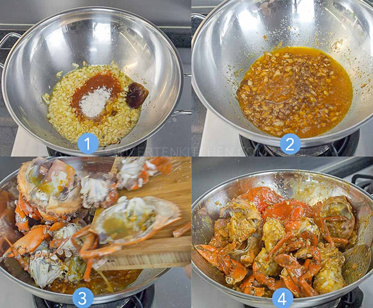 step by step photos to make garlic butter sauce for crabs