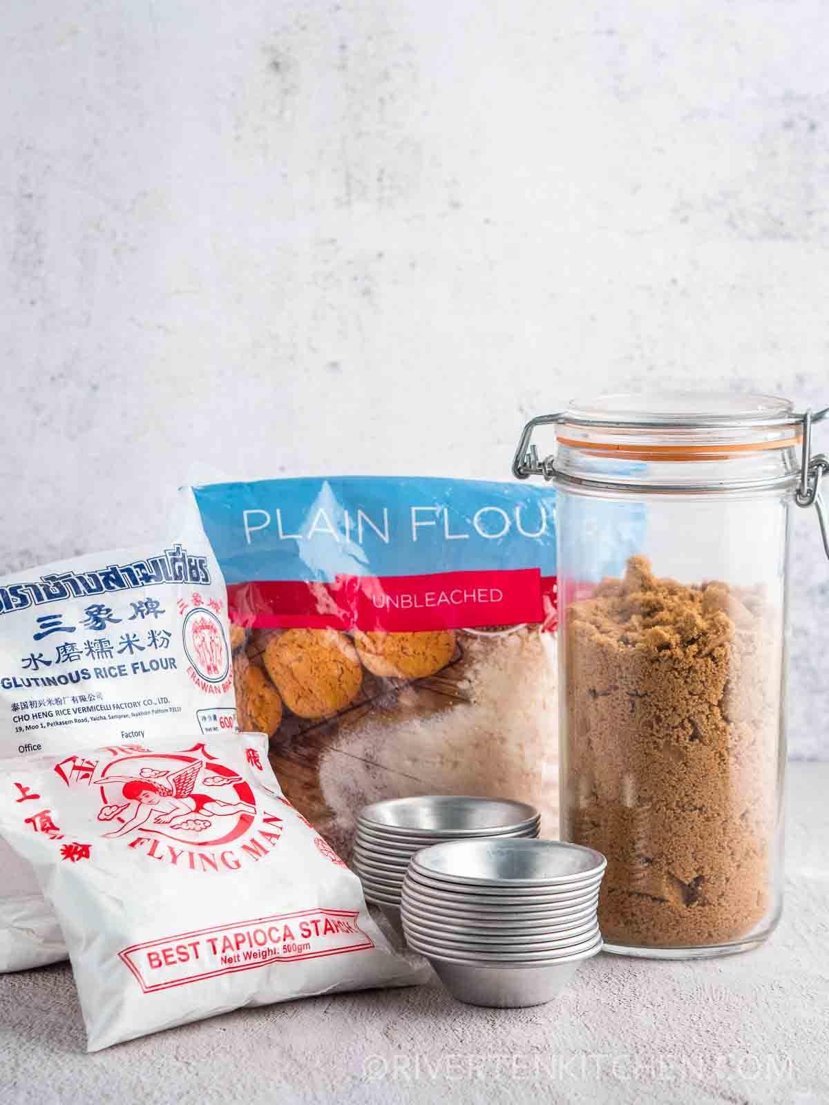 Tapioca Starch-flour-glutinous flour-brown sugar-kutsinta molds
