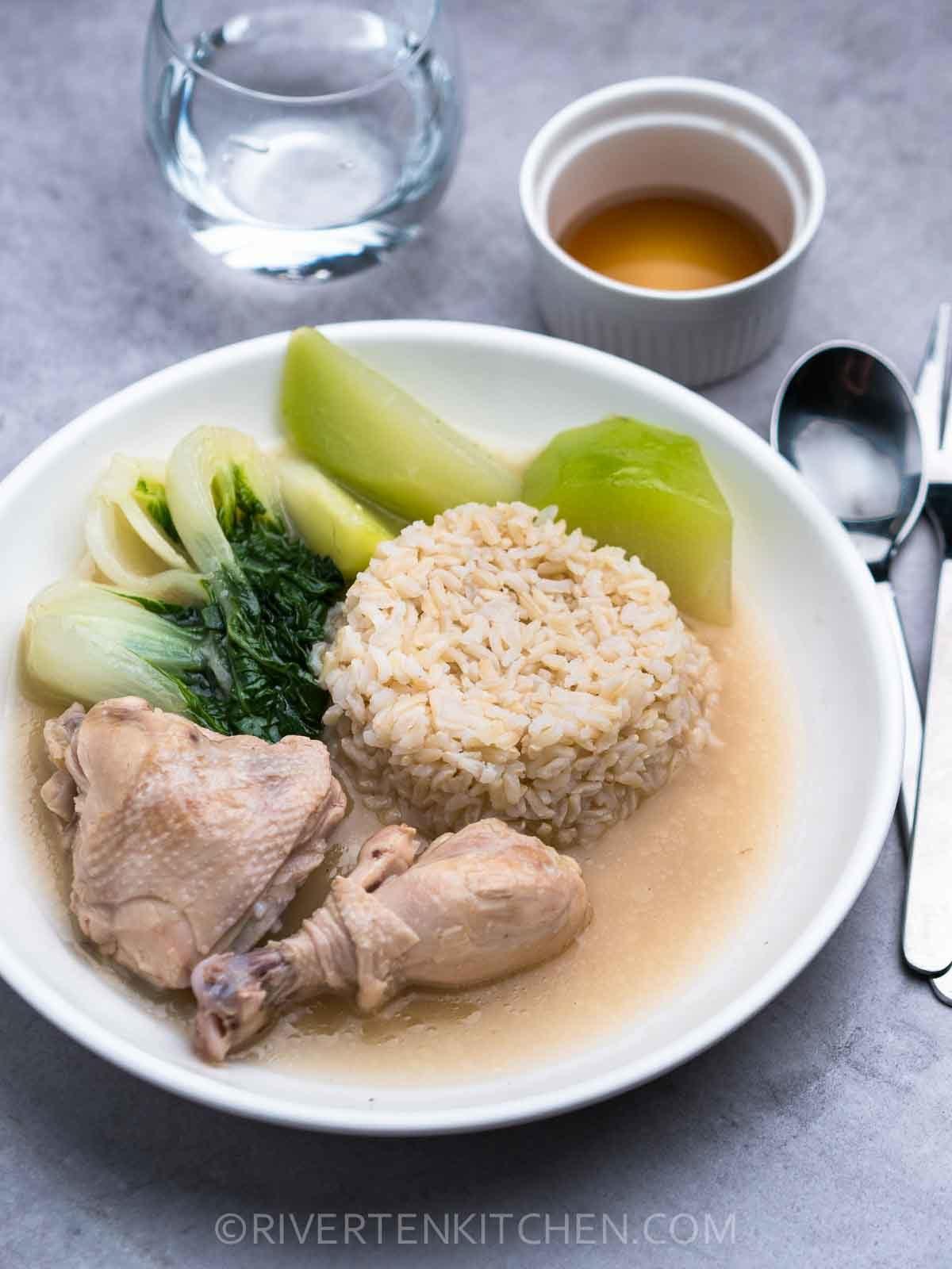 Tinolang Manok with Rice and fish sauce
