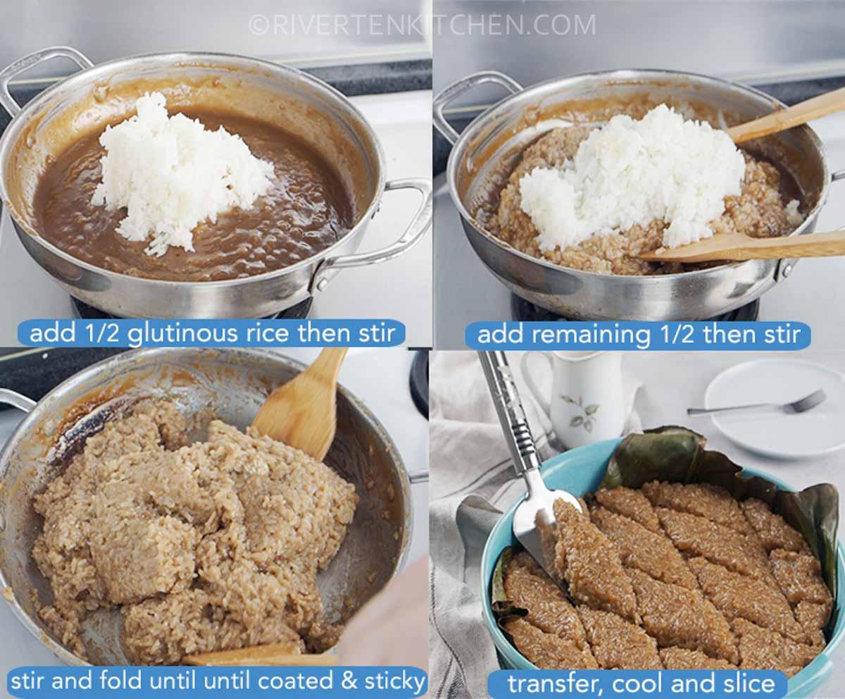 combine latik sauce and glutinous rice
