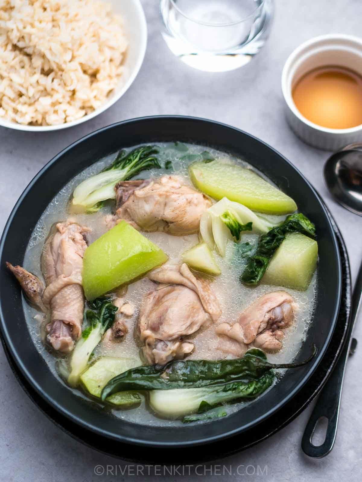 Chicken Tinola with Raw Papaya rice and fish sauce