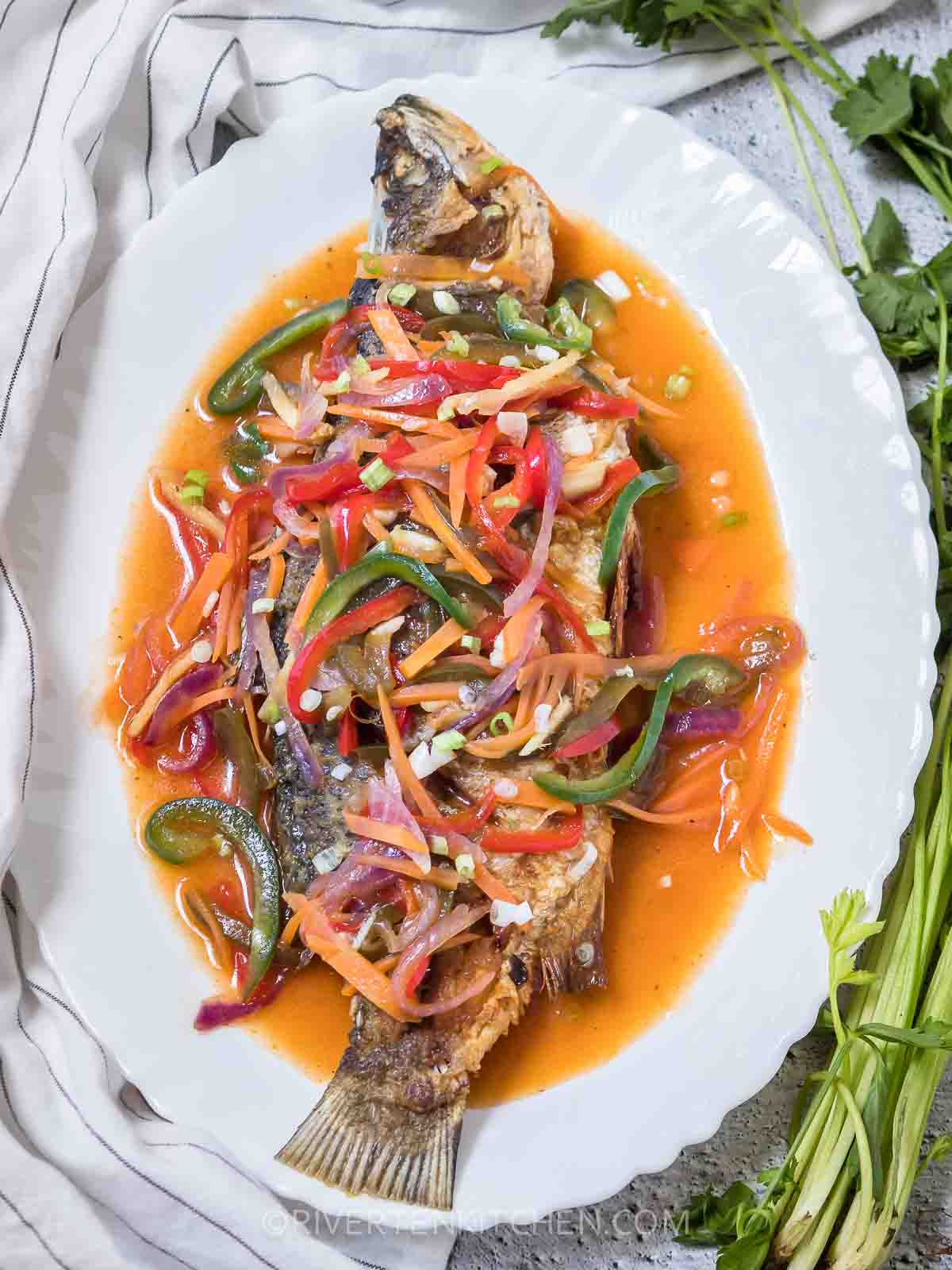 Sweet And Sour Whole Fish-Escabeche