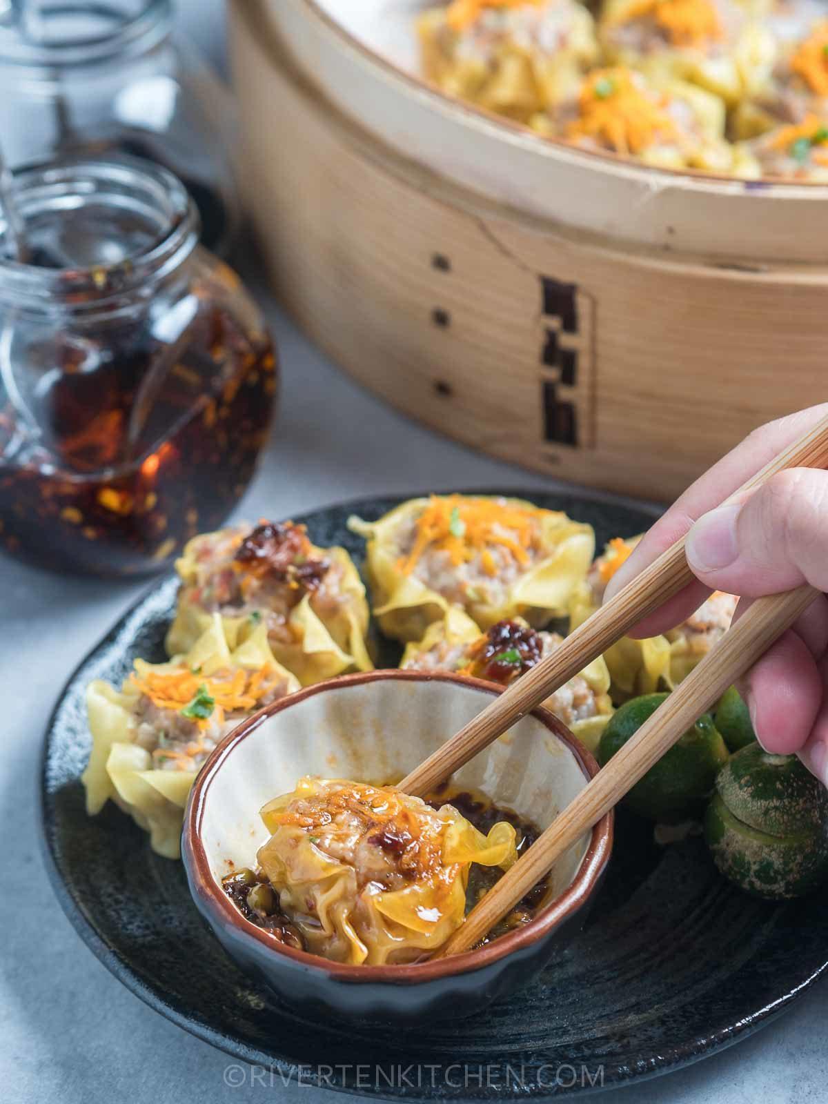 Shu Mai in Chili Garlic Oil